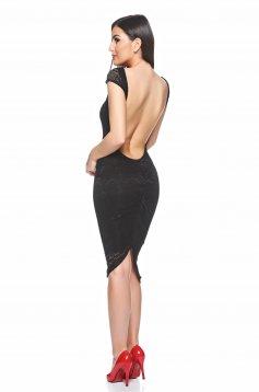 Rochie PrettyGirl neagra de ocazie din material dantelat cu spatele gol
