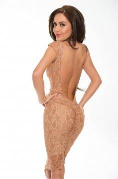 Rochie PrettyGirl maro de ocazie din material dantelat cu spatele gol