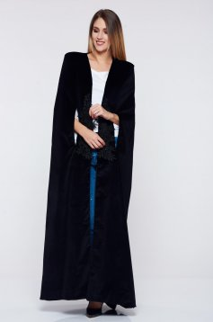 Capa PrettyGirl neagra cu insertii de broderie captusita pe interior