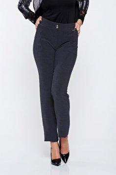 Pantaloni PrettyGirl gri office din stofa cu talie joasa cu buzunare