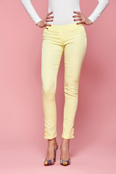 Pantaloni Fofy Ankle Buttons Yellow