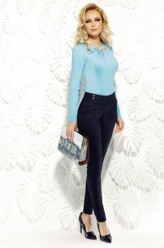 Pantaloni Fofy albastri-inchis office conici cu talie medie cu buzunare