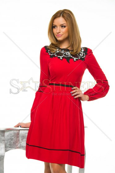 Rochie LaDonna Cleavage Roses Red