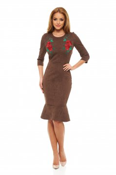 Rochie StarShinerS Brodata Rose Euphoria Brown