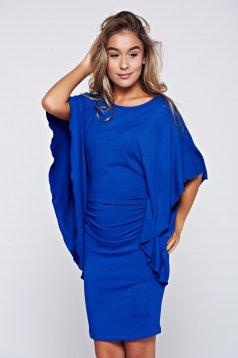 Rochie MissQ albastra casual cu maneci tip fluture
