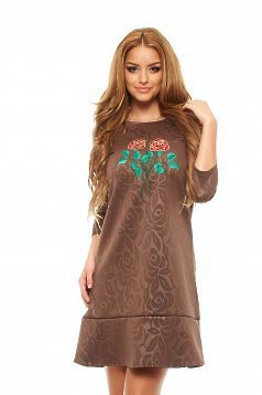 Rochie StarShinerS Brodata Rose Fashion Brown