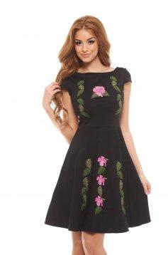 Rochie StarShinerS Brodata Flower Power Black