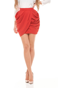 Fusta Ana Radu rosie eleganta scurta cu pliuri de material