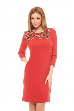Rochie StarShinerS Rose Embroidery Red