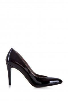 Pantofi negru din piele naturala cu varful usor ascutit