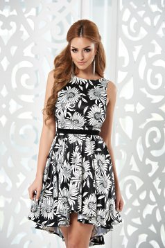 Rochie StarShinerS White Flowers Black