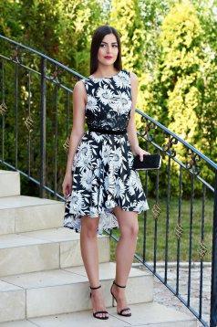 Rochie StarShinerS White Flowers Black