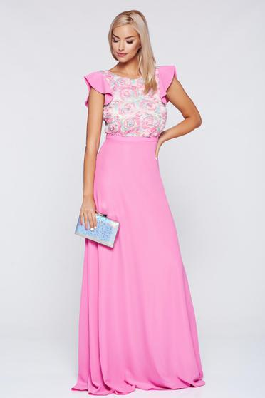 Rochie StarShinerS rosa de ocazie lunga in clos