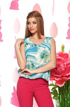 Top LaDonna Flower Joy LightBlue