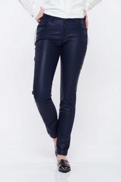 Pantaloni Top Secret albastri-inchis casual conici cu talie medie