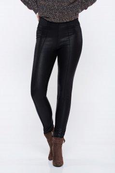 Pantaloni Top Secret negri casual conici cu talie medie din piele ecologica