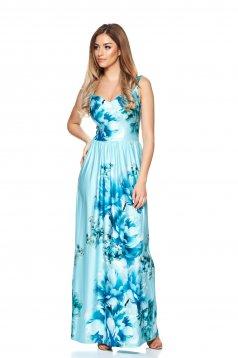 Rochie MissQ albastra-deschis lunga in clos cu print