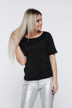 Bluza dama Top Secret neagra cu aplicatii cu sclipici eleganta cu maneca scurta
