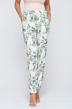 Pantaloni Top Secret albi casual cu talie medie
