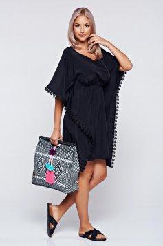 Rochie StarShinerS neagra de plaja cu croi larg cu elastic in talie