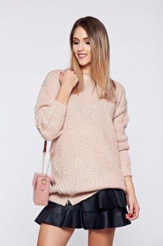Pulover Top Secret roz casual tricotat accesorizat cu fermoar