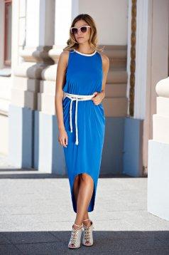 Rochie Daniella Cristea albastra cu croi asimetric din material elastic