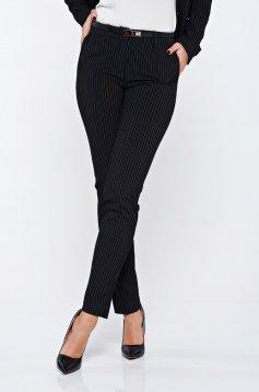 Pantaloni Top Secret negri cu dungi verticale office cu buzunare