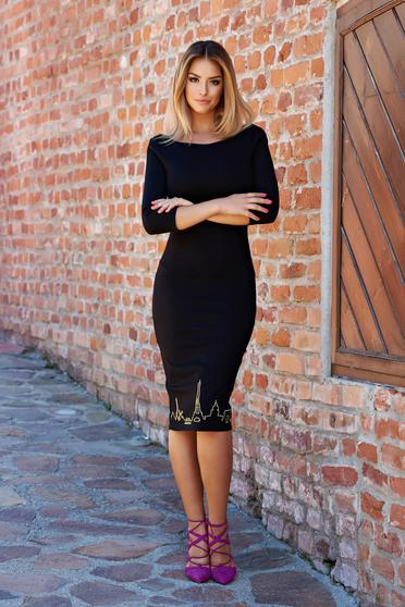 Rochie StarShinerS Brodata Bonjour Belle Hot Move Black