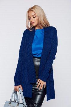 Cardigan Top Secret albastru-inchis casual cu croi larg