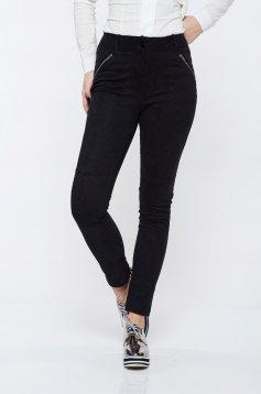 Pantaloni Top Secret negri casual cu talie medie din material usor elastic