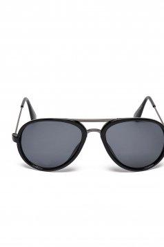 Ochelari de soare cu lentile rotunde Top Secret negru cu rama din plastic