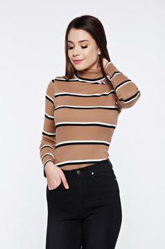 Pulover Top Secret cream casual tricotat din bumbac cu dungi