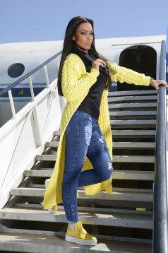 Cardigan MissQ galben casual tricotat cu croi larg