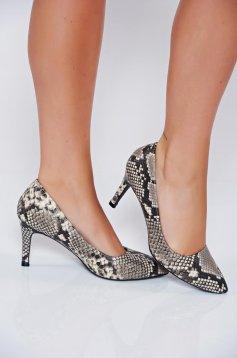 Pantofi Top Secret negru cu toc inalt cu animal print