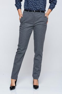 Pantaloni Top Secret gri-deschis office conici cu talie medie