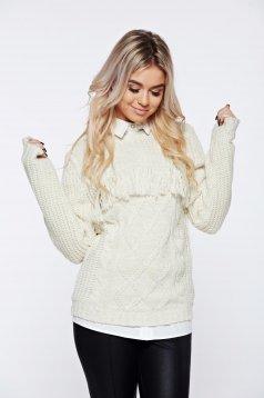 Pulover Top Secret cream casual tricotat cu croi larg