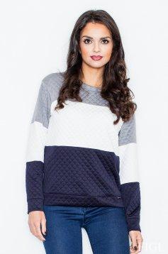 Bluza dama albastru-inchis casual cu croi larg
