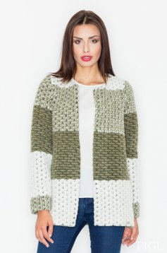 Cardigan verde-inchis casual tricotat material gros