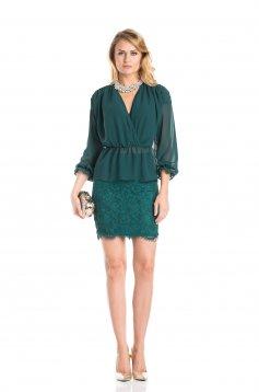 Bluza dama Daniella Cristea verde eleganta din voal cu elastic in talie