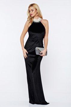 Rochie StarShinerS sirena neagra de ocazie din catifea cu aplicatii cu perle