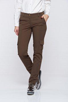 Pantaloni PrettyGirl verde inchis casual conici cu talie medie cu buzunare