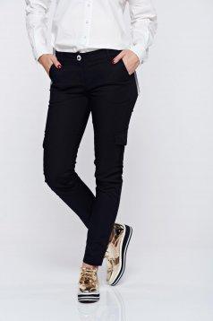 Pantaloni PrettyGirl negri casual conici cu talie medie cu buzunare