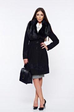 Palton LaDonna negru elegant in clos cu insertii de broderie