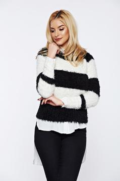 Pulover Top Secret negru tricotat cu croi larg din material pufos