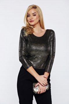 Bluza dama Top Secret neagra casual cu aplicatii stralucitoare