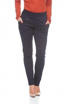 Pantaloni PrettyGirl albastru-inchis casual conici cu talie medie bumbac usor elastic