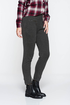 Pantaloni PrettyGirl gri casual conici cu talie medie bumbac usor elastic