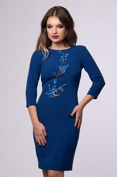 Rochie Floral Embroidery Blue