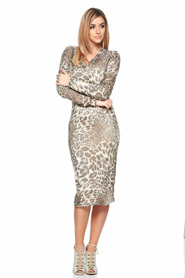 Rochie PrettyGirl Combination Brown