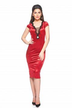 Rochie Artista Stylish Velvet Red